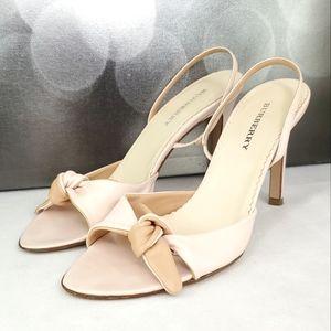 BURBERRY Pink and Tan Colorblock Slingback Heels